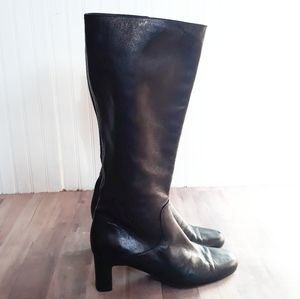 Cole Haan City Black Leather Riding Boots